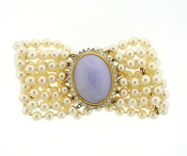 14K Gold LavenderJade Diamond Pearl Six Row Bracelet