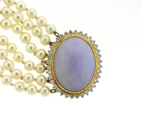 14K Gold LavenderJade Diamond Pearl Six Row Bracelet - 3