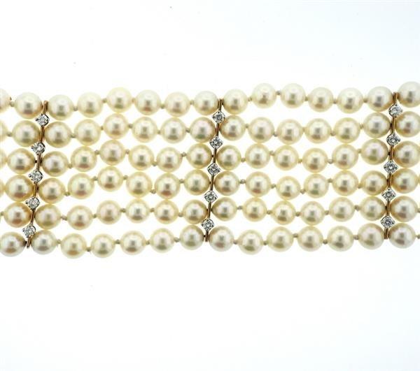 14K Gold LavenderJade Diamond Pearl Six Row Bracelet - 4