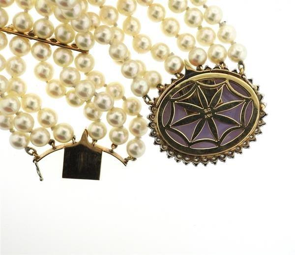 14K Gold LavenderJade Diamond Pearl Six Row Bracelet - 5