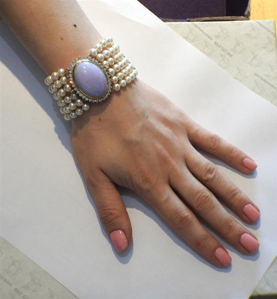 14K Gold LavenderJade Diamond Pearl Six Row Bracelet - 6