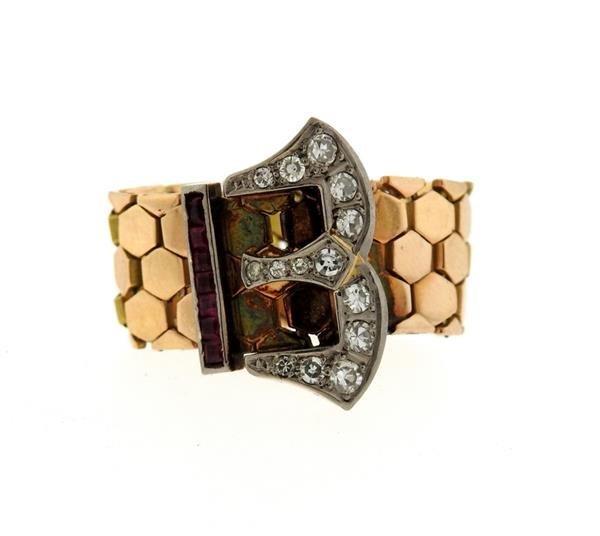 Retro  14k Gold Diamond Ruby Buckle Band Ring