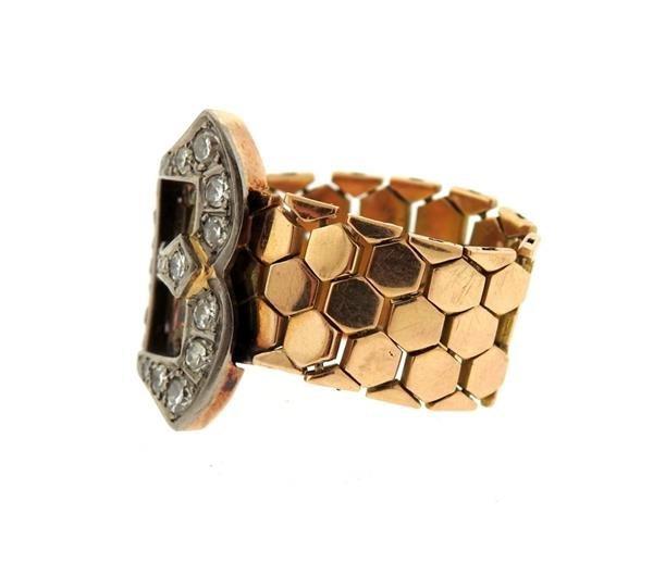 Retro  14k Gold Diamond Ruby Buckle Band Ring - 2