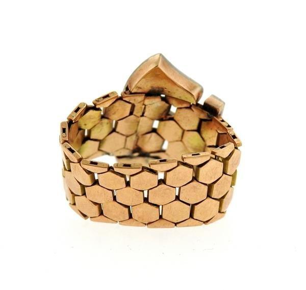 Retro  14k Gold Diamond Ruby Buckle Band Ring - 3