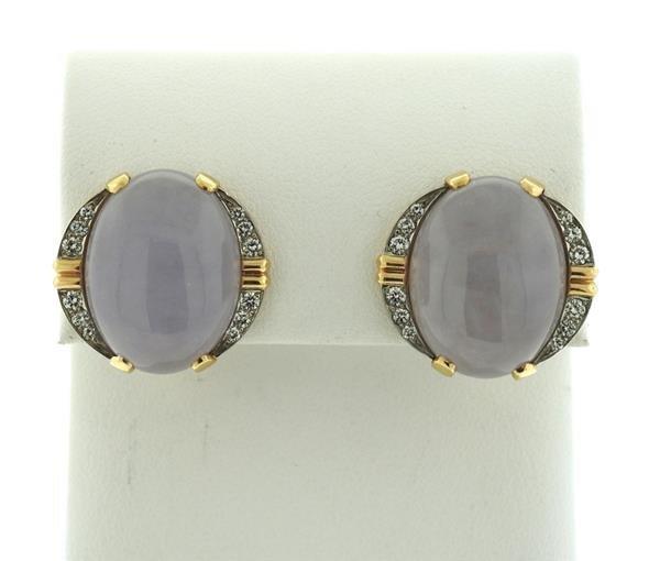 14k Gold Lavender Stone Diamond Earrings