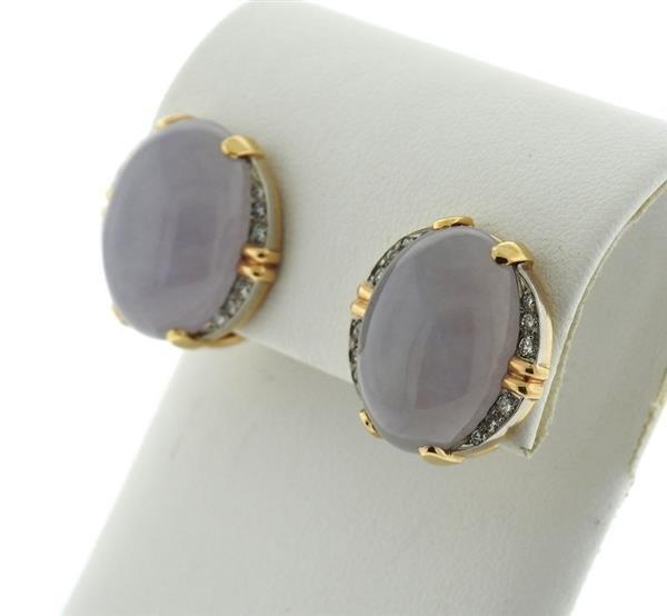 14k Gold Lavender Stone Diamond Earrings - 2