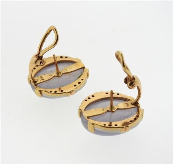 14k Gold Lavender Stone Diamond Earrings - 4