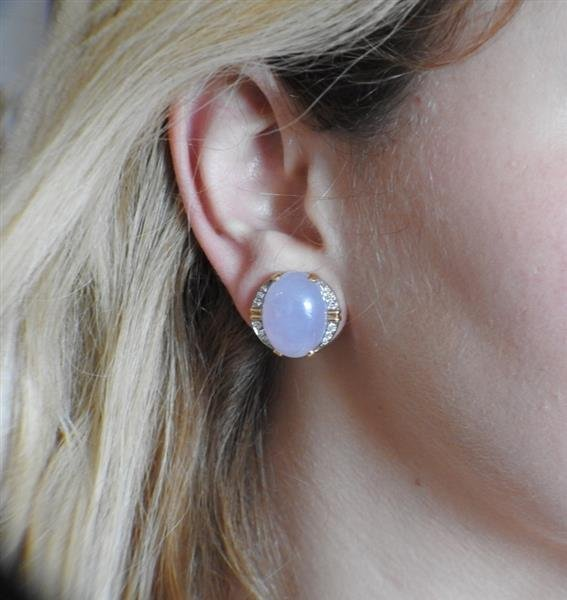 14k Gold Lavender Stone Diamond Earrings - 5