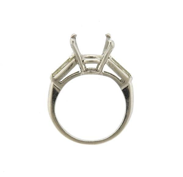 Mid Century Platinum Diamond Ring Mounting - 3