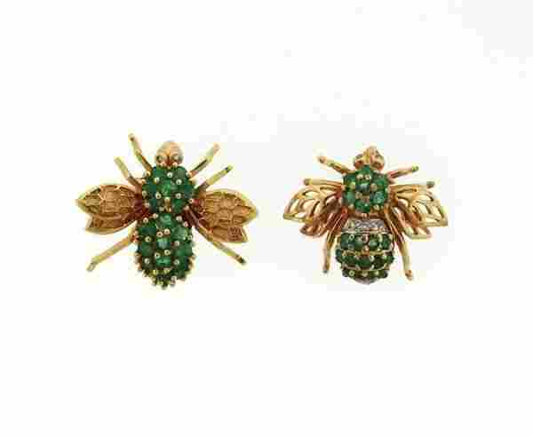 14K Gold Emerald Diamond Insect Brooch Lot of 2