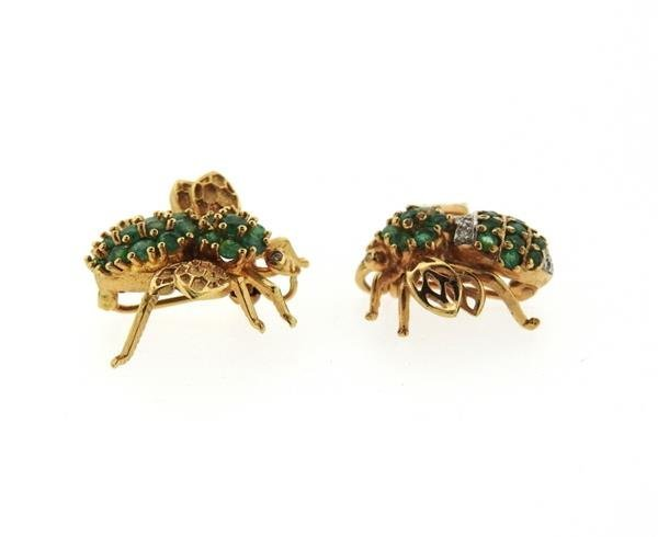 14K Gold Emerald Diamond Insect Brooch Lot of 2 - 2