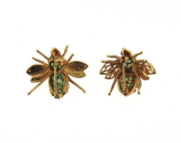 14K Gold Emerald Diamond Insect Brooch Lot of 2 - 3