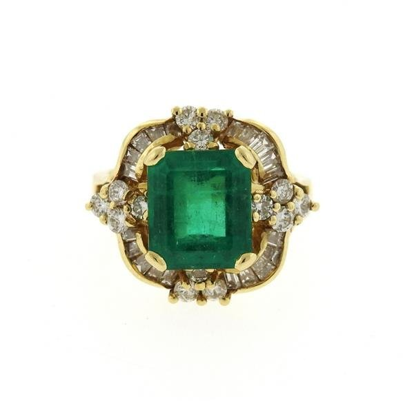 14K Gold Emerald Diamond Cocktail Ring