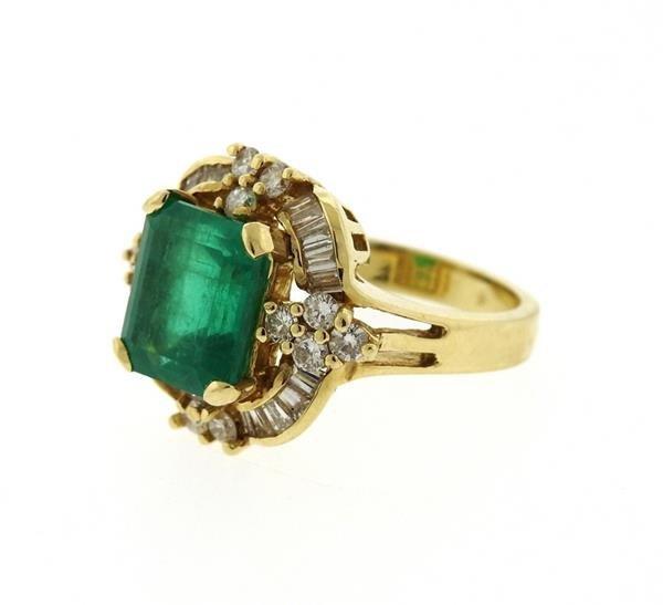 14K Gold Emerald Diamond Cocktail Ring - 2