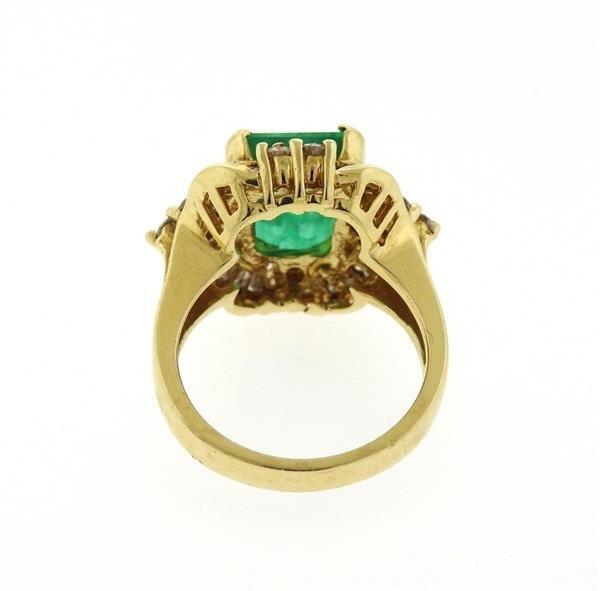 14K Gold Emerald Diamond Cocktail Ring - 3