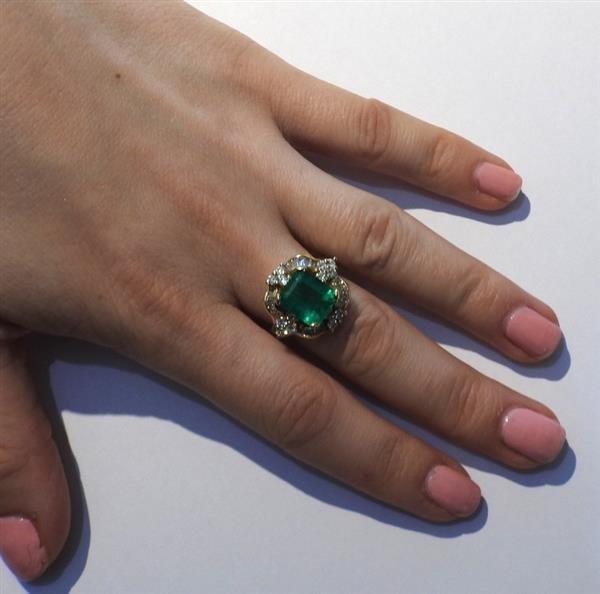 14K Gold Emerald Diamond Cocktail Ring - 4
