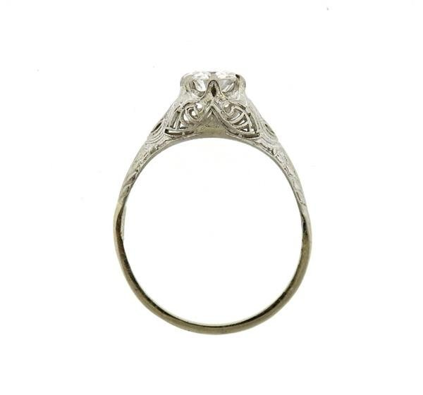 Art Deco 14k Gold Diamond Engagement Ring - 3