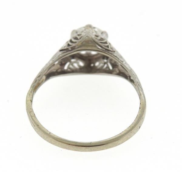 Art Deco 14k Gold Diamond Engagement Ring - 4