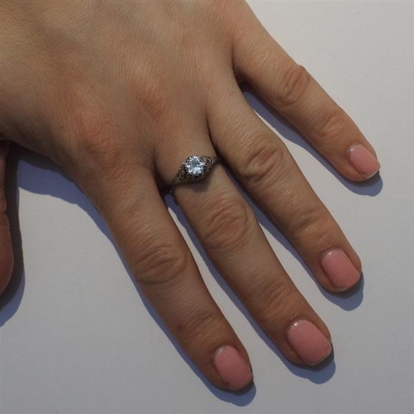 Art Deco 14k Gold Diamond Engagement Ring - 5
