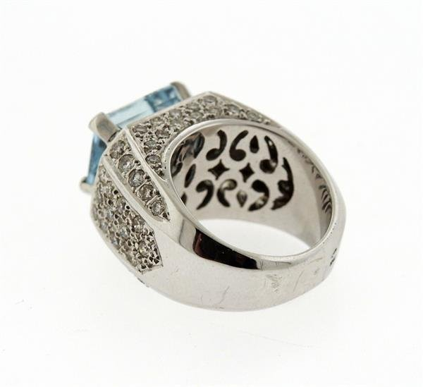 18k Gold Diamond Aquamarine Ring - 2