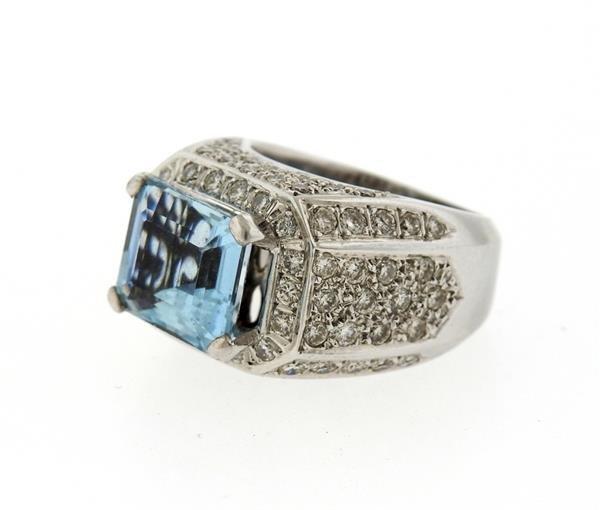18k Gold Diamond Aquamarine Ring - 3