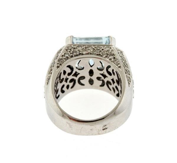18k Gold Diamond Aquamarine Ring - 4