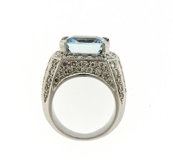 18k Gold Diamond Aquamarine Ring - 5