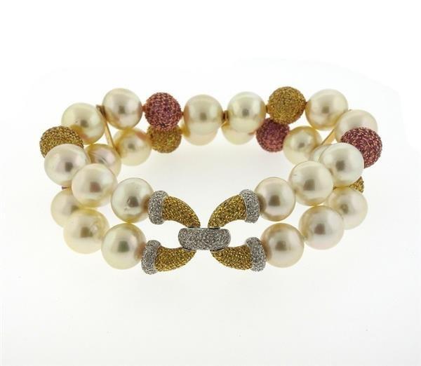 18k Gold South Sea Pearl Sapphire Diamond Bracelet
