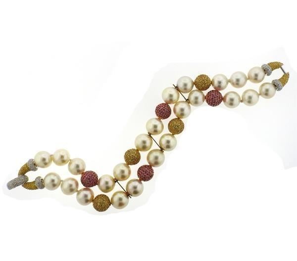 18k Gold South Sea Pearl Sapphire Diamond Bracelet - 2