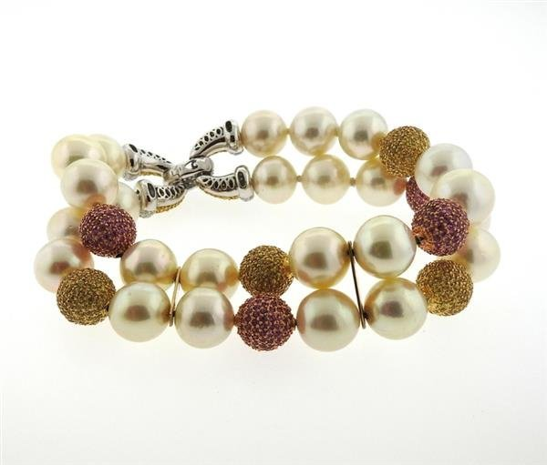 18k Gold South Sea Pearl Sapphire Diamond Bracelet - 4
