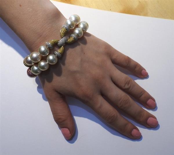 18k Gold South Sea Pearl Sapphire Diamond Bracelet - 5