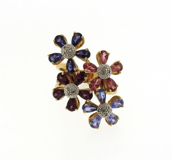 14k Gold Diamond Multi Color Gemstone Flower Ring