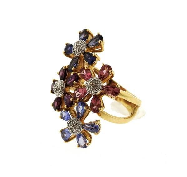 14k Gold Diamond Multi Color Gemstone Flower Ring - 2