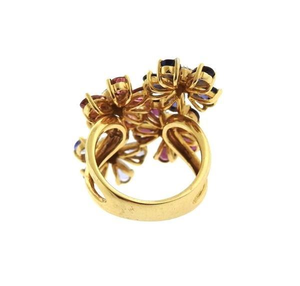 14k Gold Diamond Multi Color Gemstone Flower Ring - 3