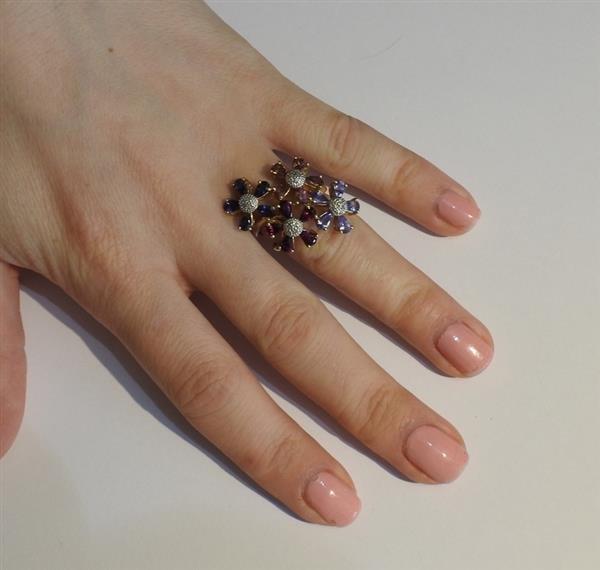 14k Gold Diamond Multi Color Gemstone Flower Ring - 4
