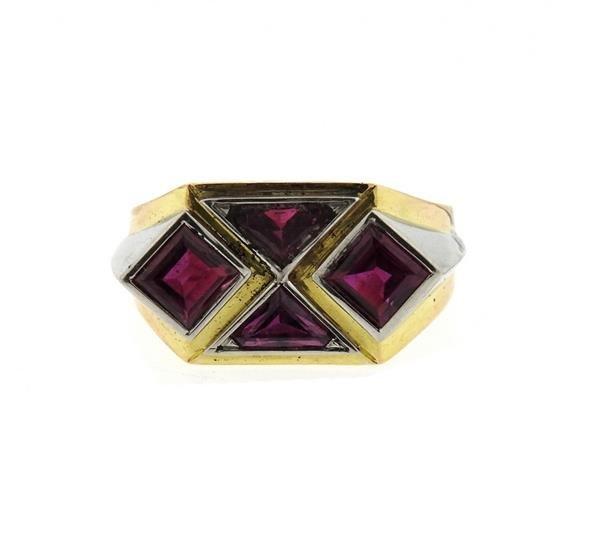 18K Gold Platinum Red Stone Ring