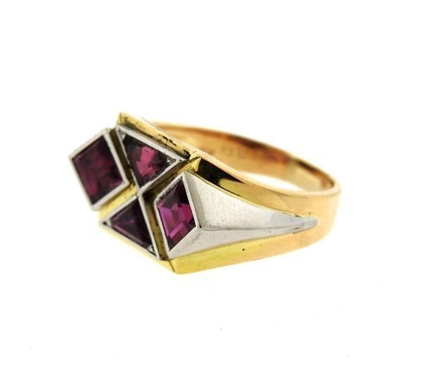 18K Gold Platinum Red Stone Ring - 2
