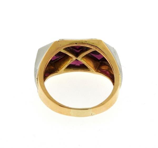 18K Gold Platinum Red Stone Ring - 3