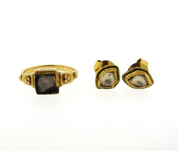 Antique 22K Gold Diamond Enamel Earrings Ring Lot