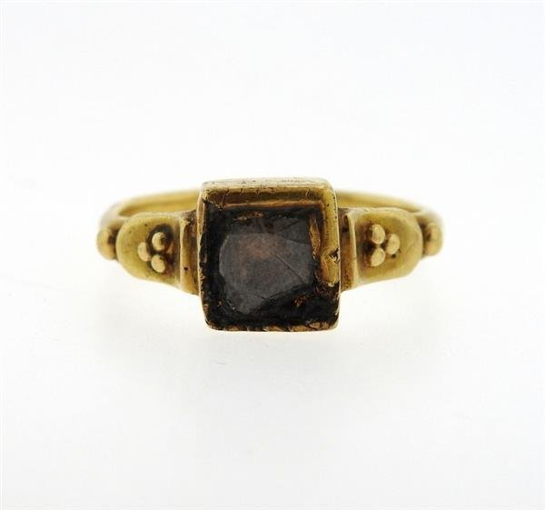 Antique 22K Gold Diamond Enamel Earrings Ring Lot - 2