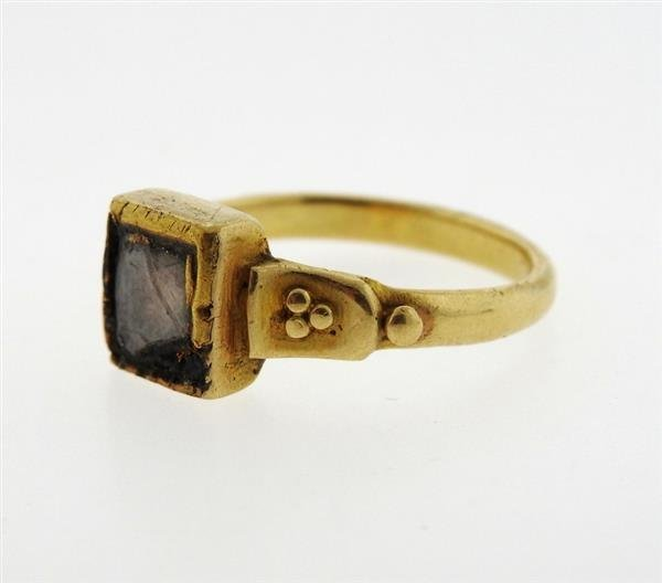 Antique 22K Gold Diamond Enamel Earrings Ring Lot - 3
