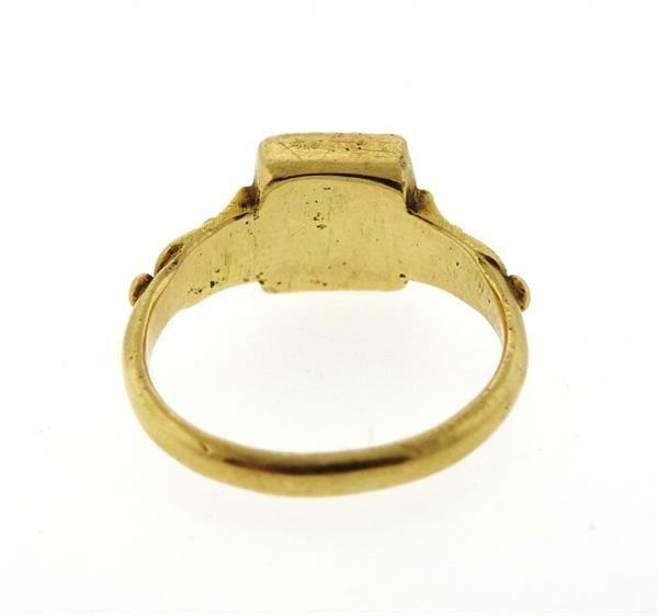 Antique 22K Gold Diamond Enamel Earrings Ring Lot - 4