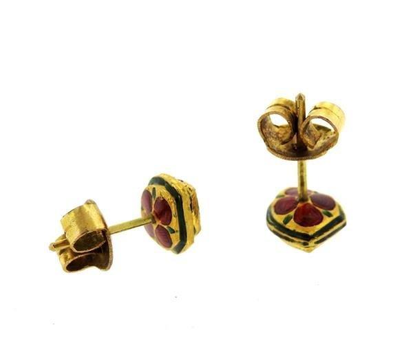 Antique 22K Gold Diamond Enamel Earrings Ring Lot - 5