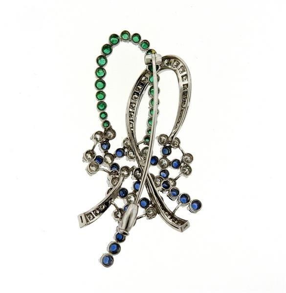 1950s 18K Gold Diamond Sapphire Emerald Flower Brooch - 3