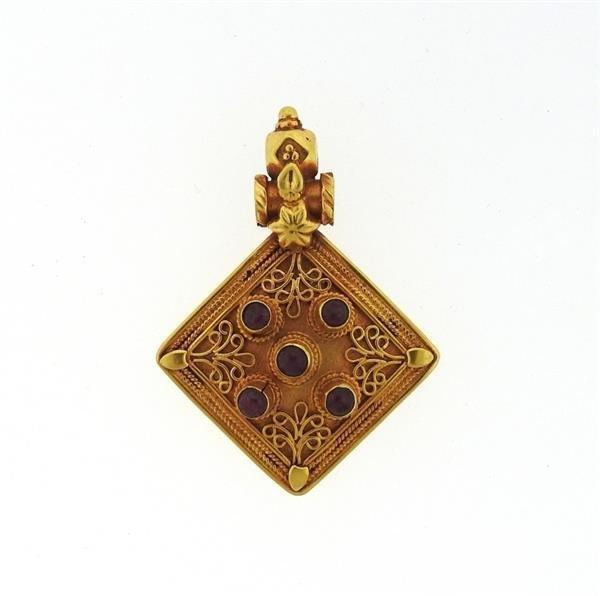 22k Gold Ruby Pendant