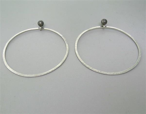 New Gurhan 24K Gold Sterling Silver Large Hoop Earrings - 3