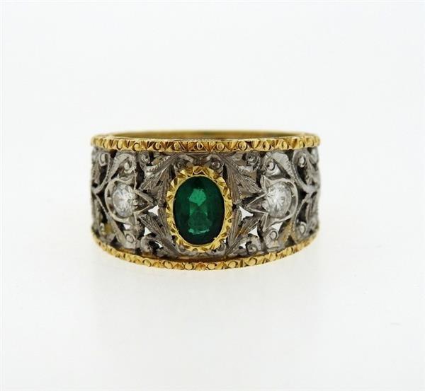 18k Gold Emerald Diamond Band Ring