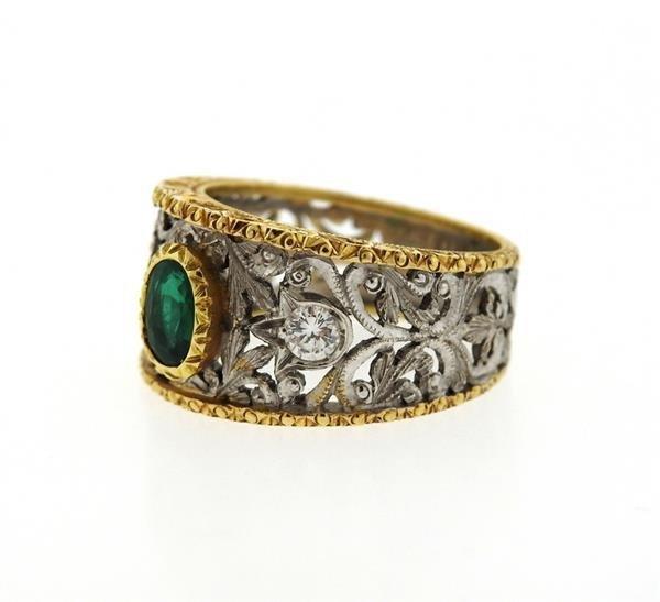 18k Gold Emerald Diamond Band Ring - 2