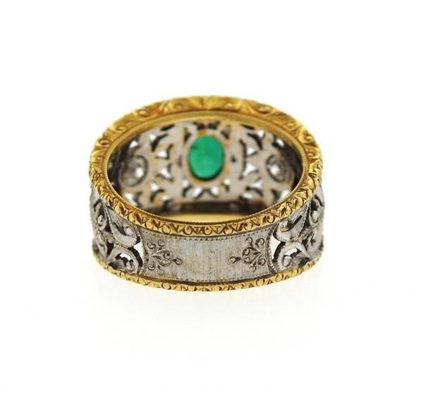 18k Gold Emerald Diamond Band Ring - 3