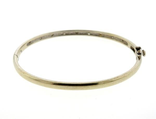 14K Gold Diamond Bangle Bracelet - 2
